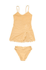 Set of yellow negligee top and underpants isolated on white backgrund
