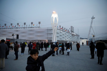 A boy poses for photographs with the Olympic cauldron at the Pyeongchang Olympic Stadium in Pyeongchang