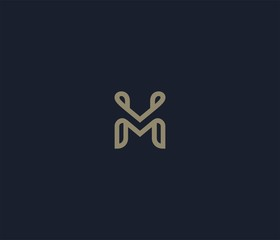 luxury letter M logo icon element
