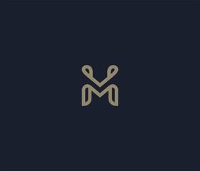 luxury letter M logo icon element
