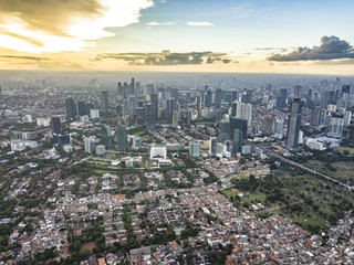 Downtown Jakarta, Indonesia, drone photography Papier Peint