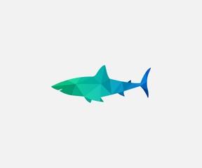 shark logo vector. low poly logo design template