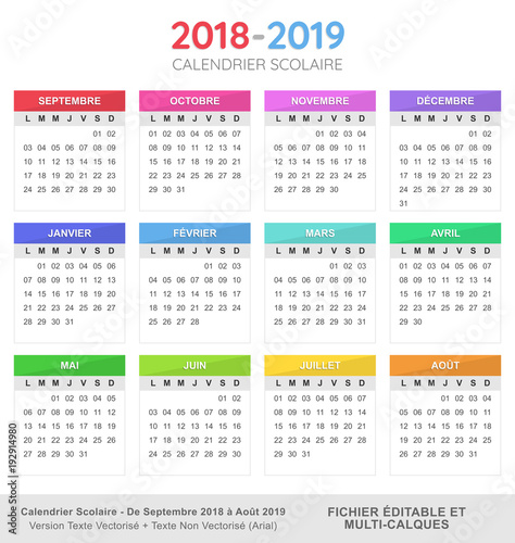 calendrier scolaire 2018 2019 fichier vectoriel libre de droits sur la banque d 39 images fotolia. Black Bedroom Furniture Sets. Home Design Ideas