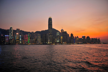Hong Kong Cityscape at Sunset