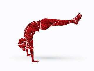 Street dance, B boys dance, Hip Hop Dancing action designed using grunge brush graphic vector