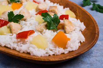 White rice with chicken