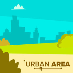 Urban Area Vector. Modern City Town Landscape With Buildings. Flat Cartoon Illustration