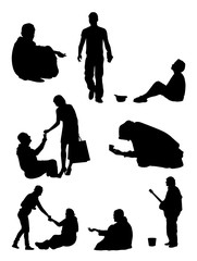 Silhouette of beggar. Good use for symbol, logo, web icon, mascot, sign, or any design you want.