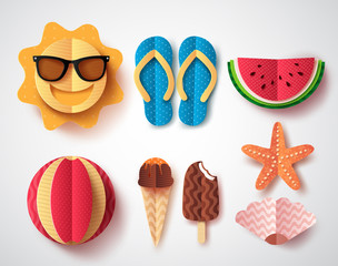 Summer vector elements set with paper cut flat folding style of sun, flipflops icecream, watermelon and starfish isolated in white background. Vector illustration.