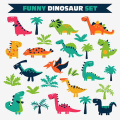Lovely vector set with funny dinosaurs on white background