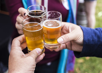Friends toasting at a beer festival