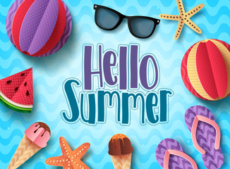 Hello summer vector banner design with beach elements floating in blue pattern background. Summer background templates with paper cut style elements.