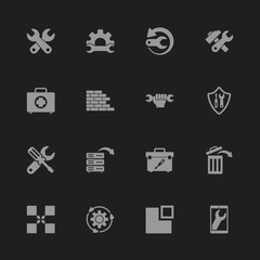 Recovery Repair icons - Gray symbol on black background. Simple illustration. Flat Vector Icon.