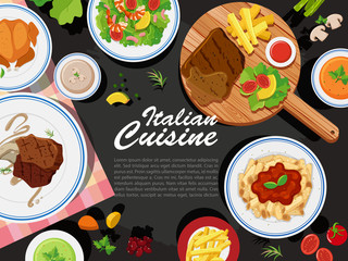Background design with different types of food