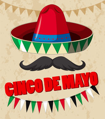 Cinco de mayo poster design with mexican hat