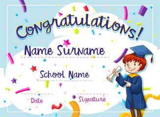 Certificate template with kid in graduation gown