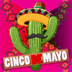 Cinco de mayo poster design with cactus wearing hat