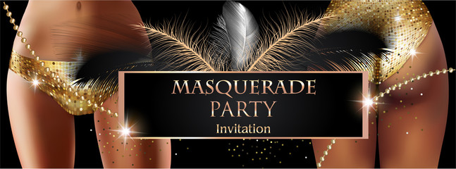 MASQUERADE PARTY INVITATION CARD WITH WOMEN, FEATHERS AND BEADS. GOLD  AND BLACK. VECTOR ILLUSTRATION