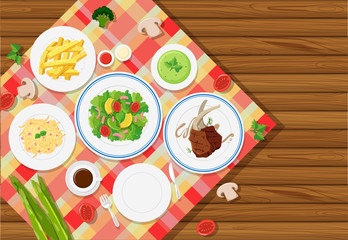 Background template with food on tablecloth