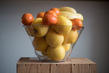 fruit in a basket - closeup isolated