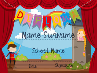Certificate template with kids on stage