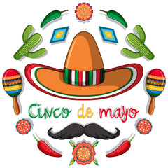 Cinco de mayo card template with mexican decorations