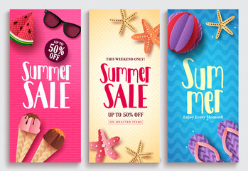 Summer sale vector poster design set with sale text and beach paper cut elements in colorful pattern backgrounds for summer seasonal discount promotion. Vector illustration.