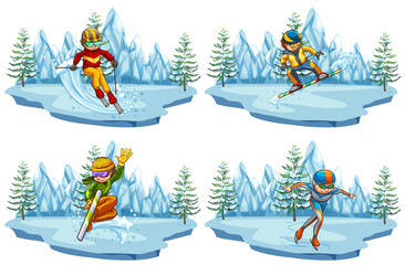 Four scenes with people playing ski and snowboarding