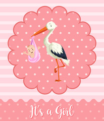Stork baby on pink background