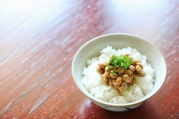Traditional Japanese Fermented Soybeans On Freshly Cooked Rice