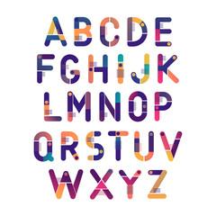 Concept of vector fluid gradient geometric alphabet. Theme of science, magnets, electronics.