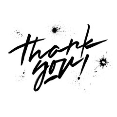 "Vector black lettering ""Thank you"". Handwritten letters and blots."