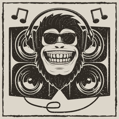 Cool music monkey vector grunge t-shirt printing design