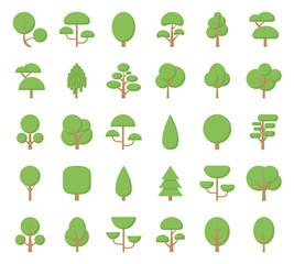 Flat trees icons