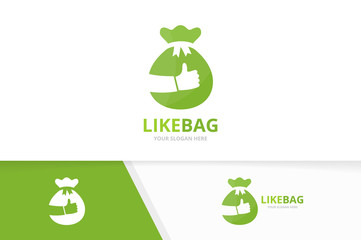 Vector of bag and like logo combination. Sack and best symbol or icon. Unique money and choice logotype design template.
