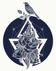 Rose and birds, tattoo and t-shirt design boho art. Beautiful flowers in geometrical style, tattoo for women