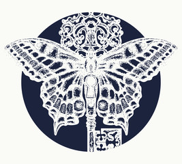Butterfly and key tattoo art. Mystical symbol of freedom, spiritual search, flight, travel. Beautiful butterfly t-shirt design