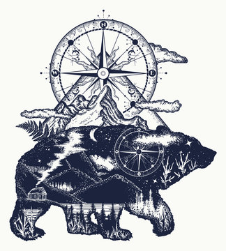 Bear double exposure, mountains, compass, tattoo art. Bear grizzly silhouette t-shirt design. Tourism symbol, adventure, great outdoor. Mountains, compass