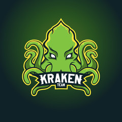Modern professional logo for sport team. Kraken mascot. Octopus, vector symbol on a dark background.