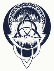 Mountain, forest, symbol travel, symmetry, tourism t-shirt design. Celtic tattoo in ethnic style. Celtic knot tattoo