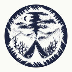 Camping and travel symbol, tourism, extreme sports, outdoor. Camping in the mountains moon night t-shirt design. Tent in mountains tattoo art