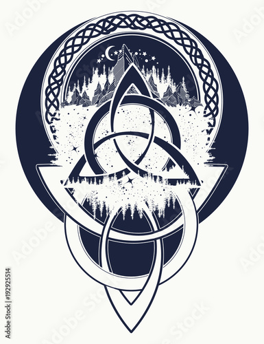 0d2443ccc Mountain, forest, symbol travel, symmetry, tourism t-shirt design. Celtic  tattoo in ethnic style. Celtic knot tattoo
