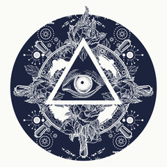 All seeing eye pyramid tattoo art. Magic eye t-shirt design. Roses and the ship's helm. Freemason and spiritual symbols. Alchemy, medieval religion, occultism, spirituality and esoteric tattoo