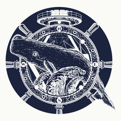 Whale and steering wheel, tattoo art. Travel, adventure, outdoors, tattoo symbol. Whale tattoo for hipsters, travelers