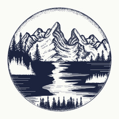 Mountains and river landscape tattoo. Symbol tourism, travel, adventure. Mountains landscape tattoo and t-shirt design