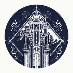 Medieval castle and mountains tattoo art. Symbol of the fairy tale, dream, magic t shirt design