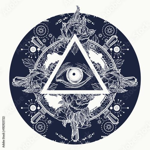 All Seeing Eye Pyramid Tattoo Art Magic T Shirt Design Roses And