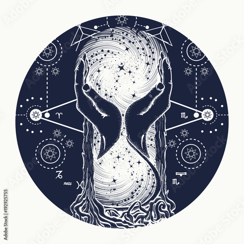 Space Hourglasses Tattoo Concept Of Time Hourglass Astrological