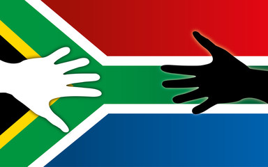 South Africa flag with peace handshake, white and coloured