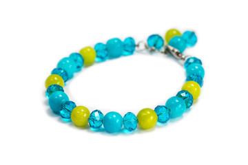 Bracelet from blue, green stones